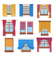 curtains and blinders on windows isolated icons vector image vector image