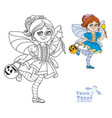 cute girl in fairy costume holding a pumpkin bag vector image vector image