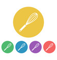 egg whisk or beater colored round icons vector image