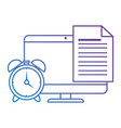 electronic document with computer and alarm vector image vector image