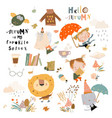 fall set with cute animals and funny kids vector image
