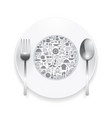 Flat Icons plate foods concept vector image vector image