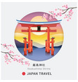 floating torii shinto gate itsukushima shrine vector image vector image
