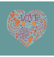 Floral heart Heart made of flowersDoodle Heart vector image vector image