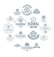 flowers logo icons set simple style vector image