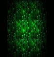green matrix symbols digital binary code on dark vector image vector image