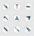 handtools icons set with saw chainsaw vector image vector image