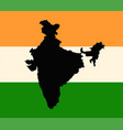 india flag and outline map vector image vector image