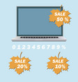 laptop and sale inscription vector image