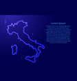 map italy from luminous blue star space points on vector image vector image