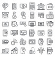 mobile internet banking icons set outline style vector image