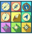 Navigation compass flat icons set vector image vector image
