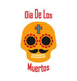 orange sugar skull on white background dia de los vector image