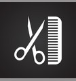 pet haircut scissors and comb icon on black vector image