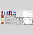 postage stamps air mail envelope post office vector image