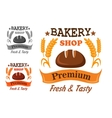 Premium bakery shop badge design vector image