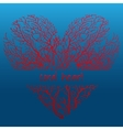 Red coral heart on a dark blue background vector image vector image
