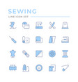 set color line icons sewing vector image