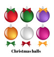 set of colorful christmas balls and ribbons vector image