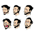 set of emotions of a bearded cartoon man vector image vector image