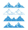 set of mountains with snow and trees vector image vector image