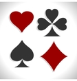 Set of playing card symbols with shadows vector image vector image