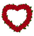 silhouette of the heart bordered with flowers rose vector image vector image