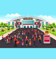 soccer fans going to stadium vector image