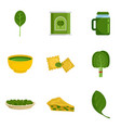 spinach leaves vegetables icons set flat style vector image vector image