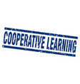 square grunge blue cooperative learning stamp vector image vector image