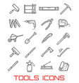 tools for repairing and building line art icons vector image vector image