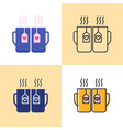 two cups with hearts icon set in flat and line vector image