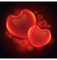 3D glossy hearts vector image
