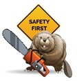 Beaver with a chainsaw vector image