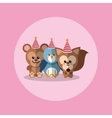 cute festive animals with party hat image vector image