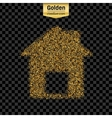 Gold glitter icon of house isolated on vector image