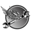 2 point wrench drawing black white wing fly vector image