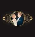 beautiful couple in art deco style retro fashion vector image vector image