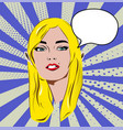 beautiful retro blonde girl with speech bubble vector image vector image