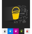 bucket paper sticker with hand drawn elements vector image vector image