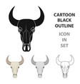 bull skull icon in cartoon style isolated on white vector image vector image