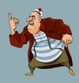 cartoon fat man sailor in coat shows one finger vector image vector image