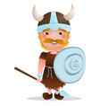 cartoon viking warrior with red hair vector image
