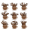 coffee cup set vector image vector image