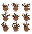 coffee cup set vector image vector image