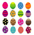colorful easter eggs with patterns vector image