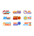 countdown badges promotional hot offers symbols vector image vector image