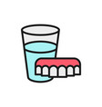 dentures with glass water flat color line icon vector image vector image