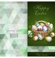 Easter Background With A Basket Full Easter Eggs vector image vector image