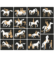 equestrian sport icons vector image vector image